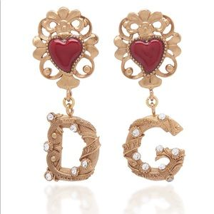 Dolce&Gabbana Cuori DG Gold-Tone Crystal Earrings